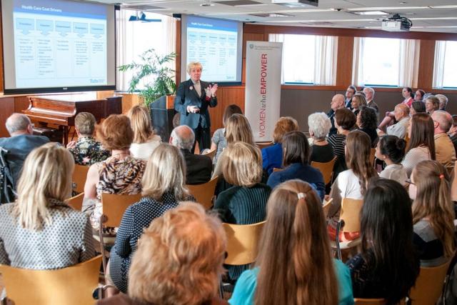 workshop leader giving presentation