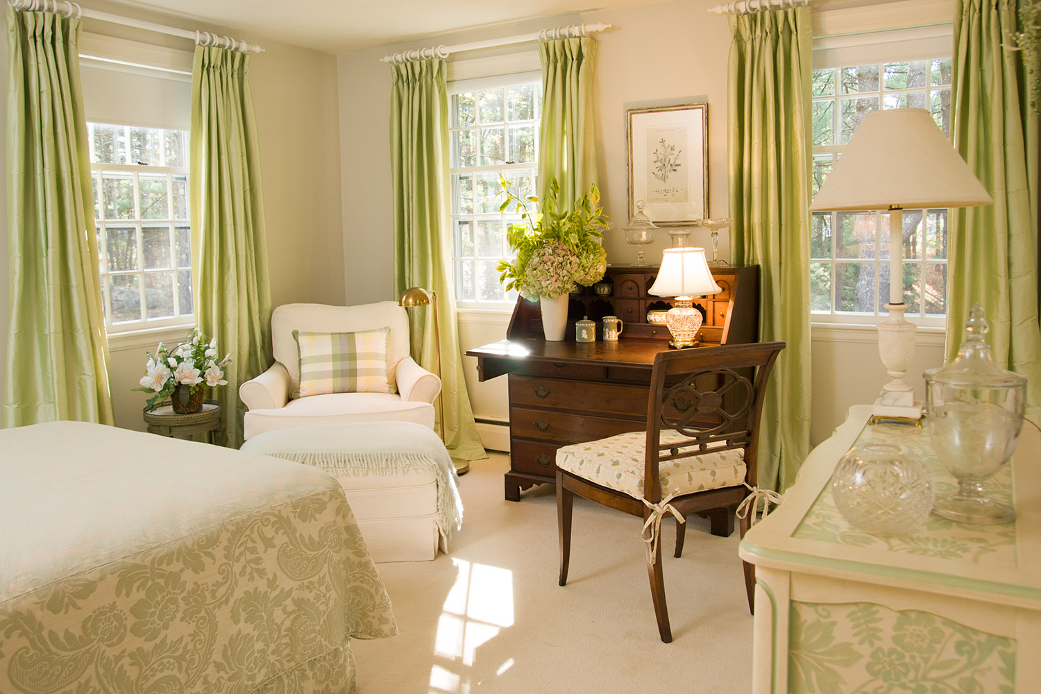 bedroom interior with green palette