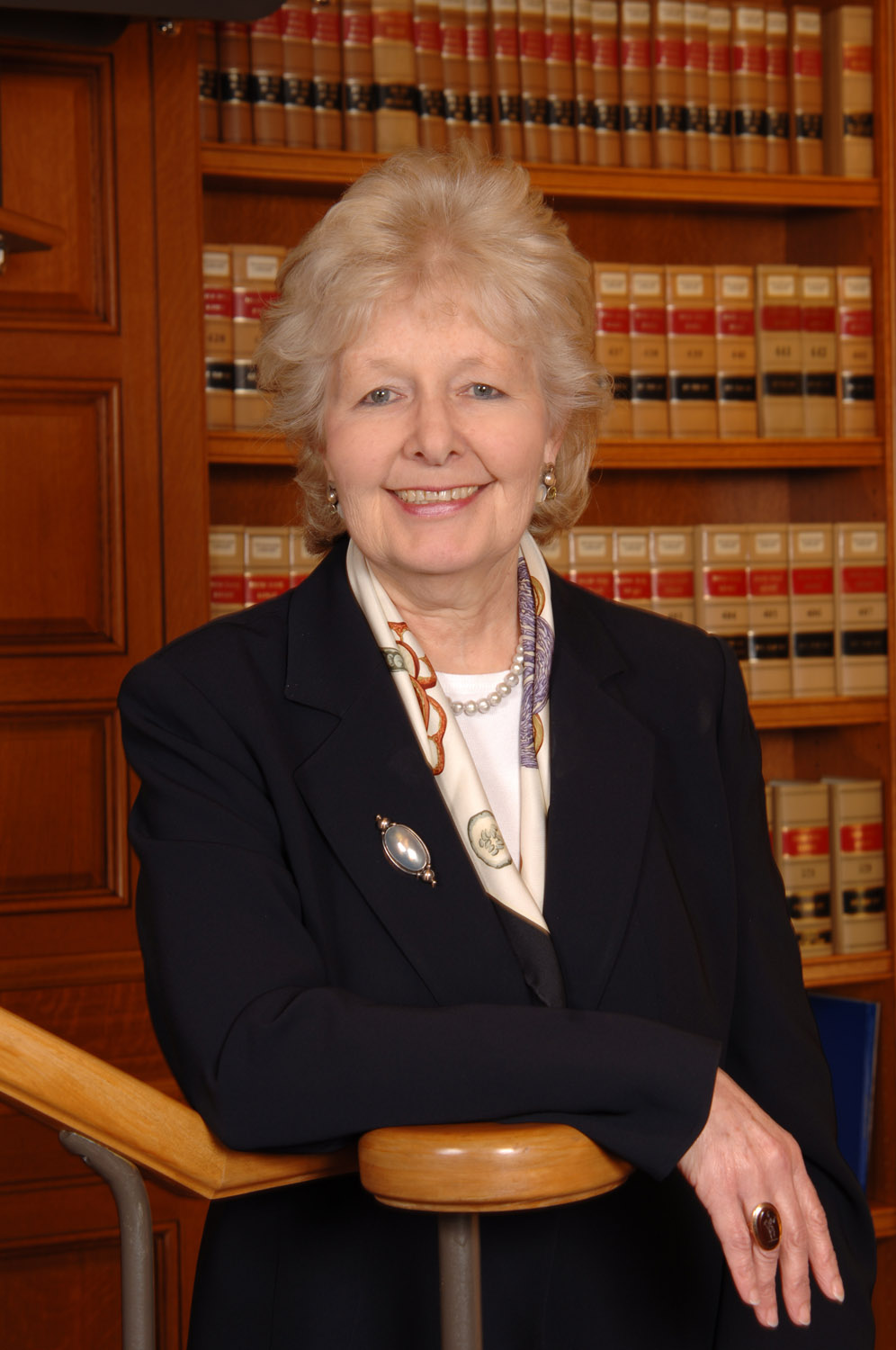 female executive in law library setting