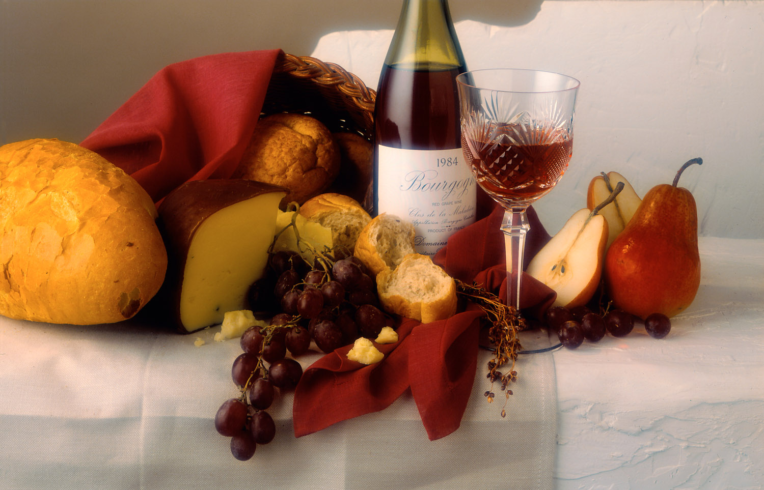 product photo of wine and cheese