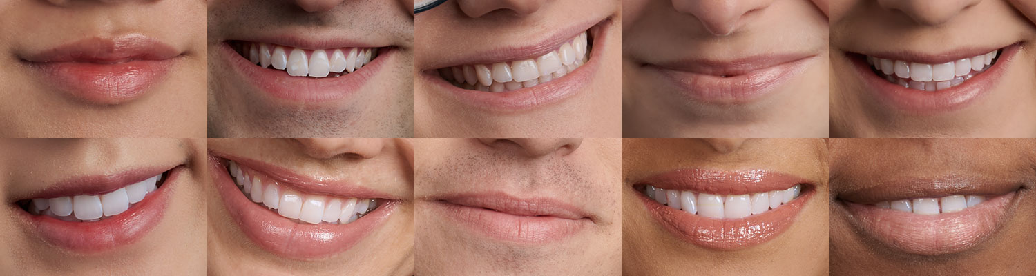 a grid of various degrees of smile in portrait images