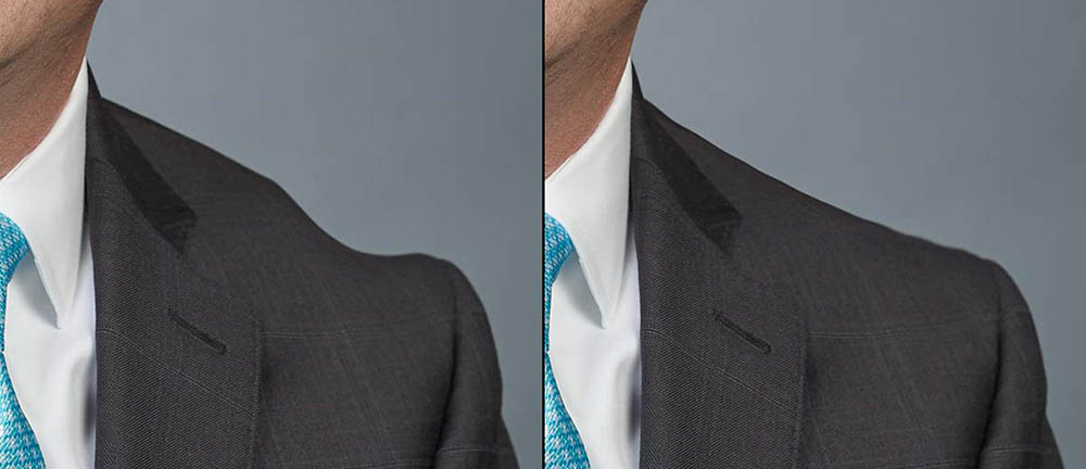 bump removed from suit jacket shoulder line