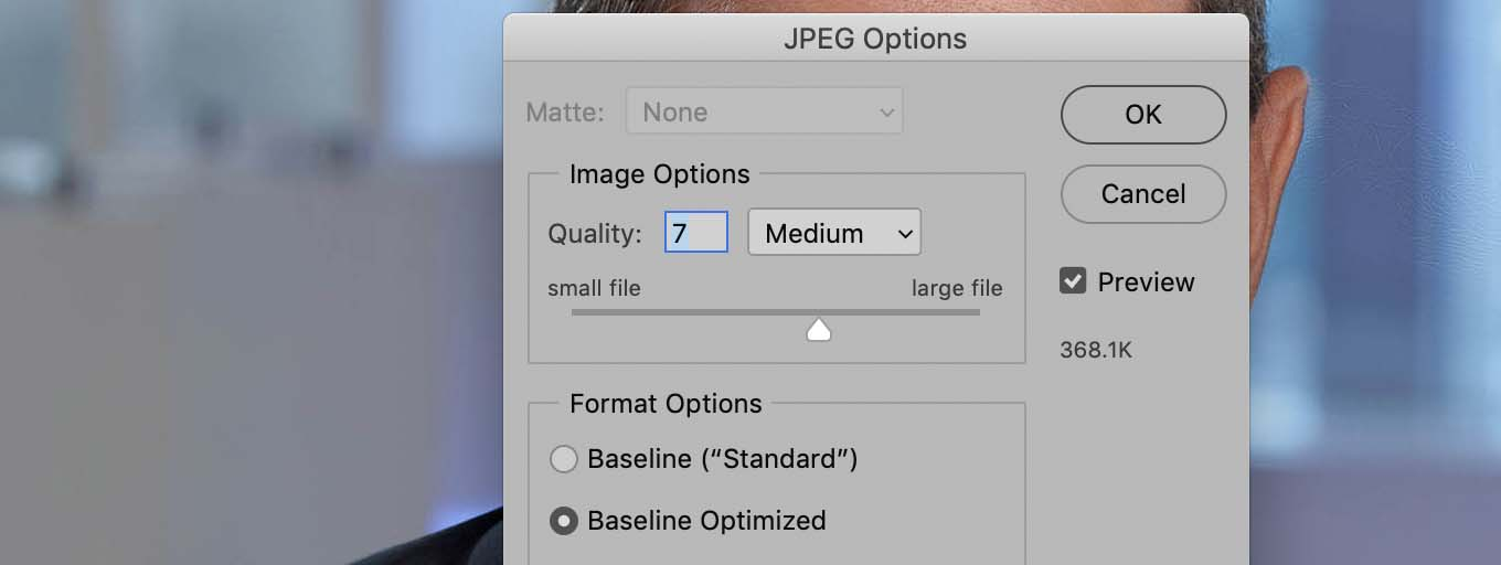Photoshop jpeg compression setting dialog